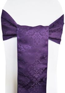 """7.5""""x108"""" Marquis Damask Jacquard  Polyester Chair Sashes (12 colors )"""