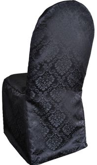 Marquis Jacquard Polyester Banquet Chair Cover-Black 99239(1pc/pk)