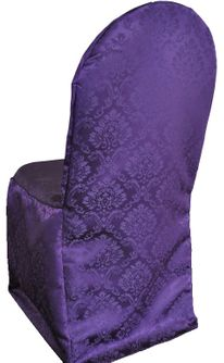 Marquis Jacquard Polyester Banquet Chair Cover-Eggplant 99245 (1pc/pk)
