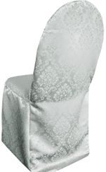 Damask Banquet Marquis Jacquard Polyester Chair Covers - Silver 99240 (1pc/pk)