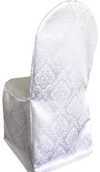 Marquis Damask Jacquard Polyester Banquet Chair Covers - White 99201 (1pc/pk)