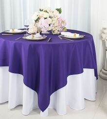 """72""""x72"""" Square Polyester Table Overlay Toppers - Regency 52463 (1pc/pk)"""