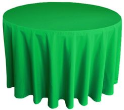 "132"" Round Polyester Tablecloths - Emerald Green 51738 (1pc/pk)"