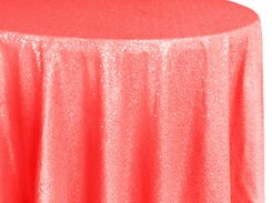 "108"" Round Sequin Taffeta Tablecloths - (NEW SHADE) Coral 01206(1pc/pk)"