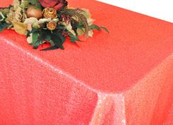 """90""""x156"""" Sequin Rectangle Tablecloth - (NEW SHADE) Coral 01606 (1pc/pk)"""