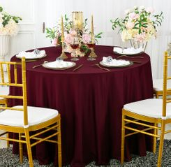 "Clearance 132"" Round Scuba (Wrinkle-Free) Tablecloth - Burgundy 20710 (1pc/pk)"