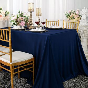 "Clearance 90""x 132"" Seamless Rectangular Scuba (Wrinkle-Free) Tablecloth - Navy Blue 21123 (1pc/pk)"
