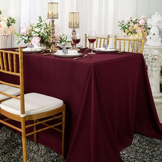 "Clearance 90""x 132"" Seamless Rectangular Scuba (Wrinkle-Free) Tablecloth - Burgundy 21110 (1pc/pk)"