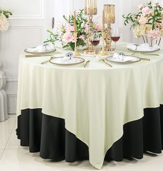 """Clearance 72""""x 72"""" Seamless Square Scuba (Wrinkle-Free) Tablecloth / Table Overlay - Ivory 20802 (1pc/pk)"""