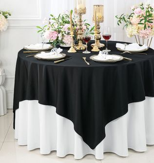 """Clearance 72""""x 72"""" Seamless Square Scuba (Wrinkle-Free) Tablecloth / Table Overlay - Black 20839 (1pc/pk)"""