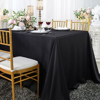 "Clearance 54"" x 96"" Seamless Rectangular Scuba (Wrinkle-Free) Tablecloth - Black 20939 (1pc/pk)"