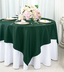 "54""x54"" Square Polyester Table Overlay Toppers - Hunter Green / Holly Green 51419 (1pc/pk)"