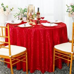 "132"" Round Sequin Taffeta Tablecloths - Red 01412 (1pc/pk)"