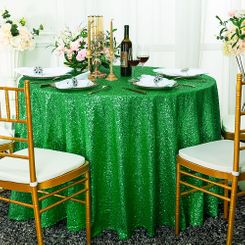 "132"" Round Sequin Taffeta Tablecloths - Emerald Green 01438 (1pc/pk)"