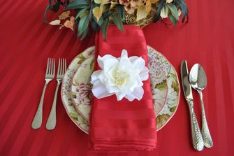 Rectangular Striped Jacquard Polyester Tablecloths (2 sizes)