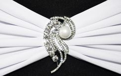 Rhinestone Chair Sash / Chair Band Buckles - Swirl Pearl 62411 (1pc/pk)