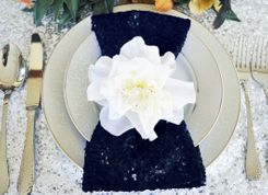 "Sample 20""x20"" Sequin Napkins - Navy Blue  01123 (1pc)"