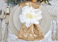 "Sample 20""x20"" Sequin Napkins - Champagne 01128 (1pc)"