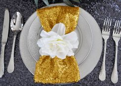 "Sample 20""x20"" Sequin Napkins - Gold 01127 (1pc)"