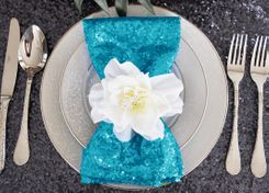 "Sample 20""x20"" Sequin Napkins - Turquoise 01185 (1pc)"