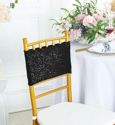 "Sample 7""x 13"" Sequin Spandex Chair Bands - Black 00139 (1pc)"