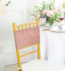 "Sample 7""x 13"" Sequin Spandex Chair Bands -  Blush Pink 00115 (1pc)"