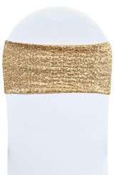 """Sample 7""""x 13"""" Sequin Spandex Chair Bands - Champagne 00128 (1pc)"""