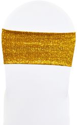 """Sample 7""""x 13"""" Sequin Spandex Chair Bands - Gold 00127 (1pc)"""