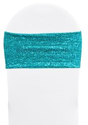"""Sample 7""""x 13"""" Sequin Spandex Chair Bands - Turquoise 00185 (1pc)"""
