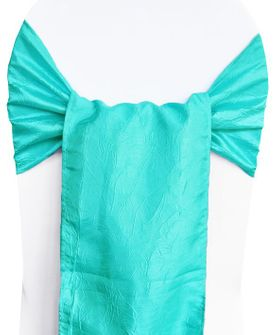 Sample Crushed Taffeta Sash - Pool Blue 61178(1pc)