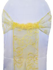 Sample Embroidered Organza Sash - Canary Yellow(1pc)