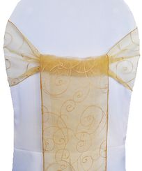 Sample Embroidered Organza Sash - Gold(1pc)