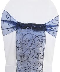Sample Embroidered Organza Sash - Navy Blue(1pc)