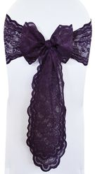 Sample Lace Chair Sash - Eggplant 90145 (1pc)