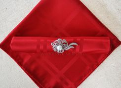 "Sample 20""x20"" Plaid Jacquard Polyester Napkins - Apple Red 87008 (1pc)"