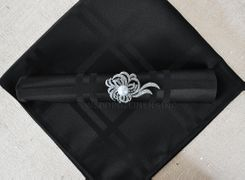 "Sample 20""x20"" Plaid Jacquard Polyester Napkins - Black 87039 (1pc)"