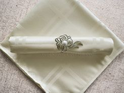 "Sample 20""x20"" Plaid Jacquard Polyester Napkins - Ivory 87002 (1pc)"