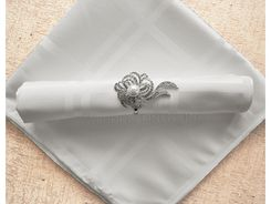 "Sample 20""x20"" Plaid Jacquard Polyester Napkins - White 87001 (1pc)"