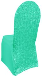 Sequin Spandex Chair Covers - Tiff Blue / Aqua Blue 00318 (1pc/pk)