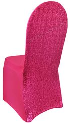 Sequin Spandex Chair Covers - Fuchsia 00309 (1pc/pk)