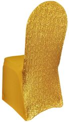Sequin Spandex Banquet Chair Covers - Gold 00327 (1pc/pk)