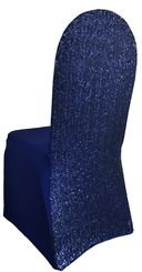 Sequin Spandex Banquet Chair Covers - Navy Blue 00323 (1pc/pk)