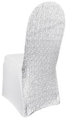 Sequin Spandex Chair Covers - Platinum 00371 (1pc/pk)