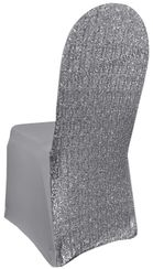 Sequin Spandex Chair Covers - Silver 00340 (1pc/pk)