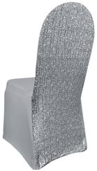 Sequin Spandex Banquet Chair Covers - Silver 00340 (1pc/pk)