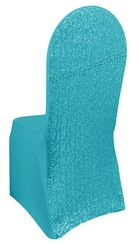 Sequin Spandex Chair Covers - Turquoise 00385 (1pc/pk)