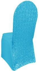 Sequin Spandex Banquet Chair Covers - Turquoise 00385 (1pc/pk)