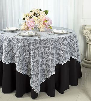 """72"""" Square Lace Table Overlays (24 Colors)"""