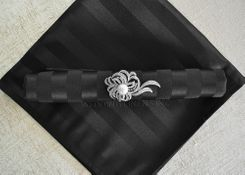 Striped Damask Jacquard Polyester Napkins - Black 86039 (10pcs/pk)
