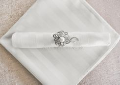 Striped Damask Jacquard Polyester Napkins - White 86001 (10pcs/pk)